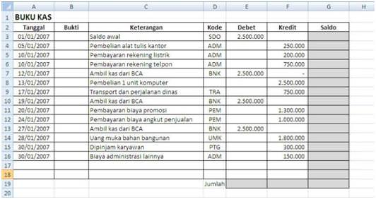 Membuat Buku Kas Sederhana dengan Excel | Excel Software Ebook Program